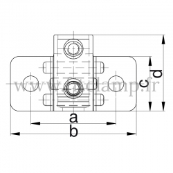 Raccord tubulaire Patte de fixation murale renforcé (246) pour un assemblage tubulaire. Double galvanisation. Plan