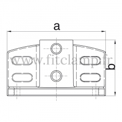 Raccord tubulaire Piètement avec retour de sécurité (247) pour un assemblage tubulaire. Double galvanisation. plan