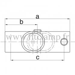 Raccord tubulaire T long intermédiaire 11°-29° (256Z) pour un assemblage tubulaire. Double galvanisation. plan