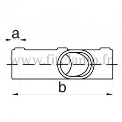 Raccord tubulaire Croix incliné 30°-45° (130) pour un assemblage tubulaire. Compatible pour fixer 3 tubes. Dessin technique