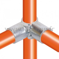 Tube clamp fitting 116A for tubular structures: 3-way through clamp (a), compatible for use with 3 tubes.