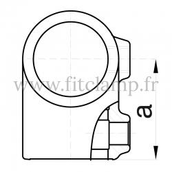 Raccord tubulaire T court mixte (101) pour un assemblage tubulaire. Double galvanisation. plan