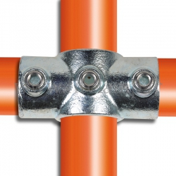 Tube clamp fitting for tubular structures: Reducing socket cross. Suitable for joining 2 tubes.