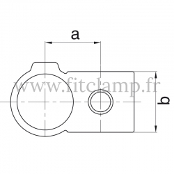 Tube clamp fitting: Reducing 90° cross over for tubular structures