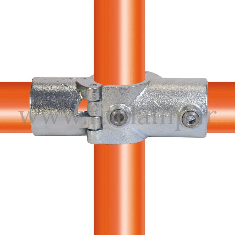 Tube clamp fitting 119A for tubular structures: Two socket cross (a), compatible for use with 3 tubes.