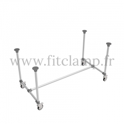 B34 Standard table in tubular structure: Industrial style. With Weels
