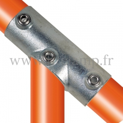 Tube clamp fitting 127 for tubular structures: Adjustable long tee, compatible for use with 3 tubes. Easy to install