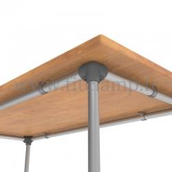 Table renforcée en structure tubulaire B34 acier galvanisé. Raccord tubulaire angle. FitClamp