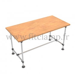B34 Reinforced table in tubular structure: Industrial style. Customized dimension. FitClamp