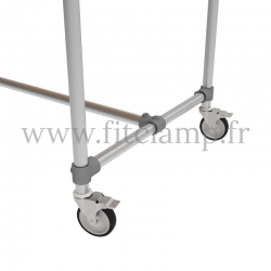 D48 Reinforced table in tubular structure: Industrial style. Foot option : Wheels