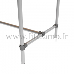 D48 Reinforced table in tubular structure: Industrial style. Foot option : 184