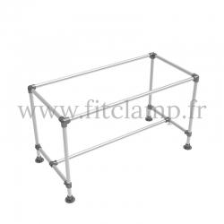 Table renforcée en structure tubulaire D48 en acier galvanisé. Sans plateau. FitClamp