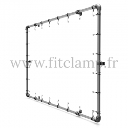 25 cm elastic tensioner with hook. Bungee cords.  For display banner frame 02.