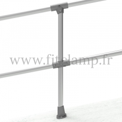 Angled barrier post 0-11° - Extension: C42 tubular structure. Foot tube clamp fitting: C152