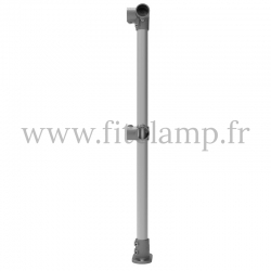 Tubular upright barrier post - Angled: C42 Tubular structure. FitClamp