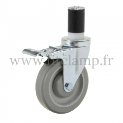 Roulette avec frein pour tube Ø B34 - FitClamp
