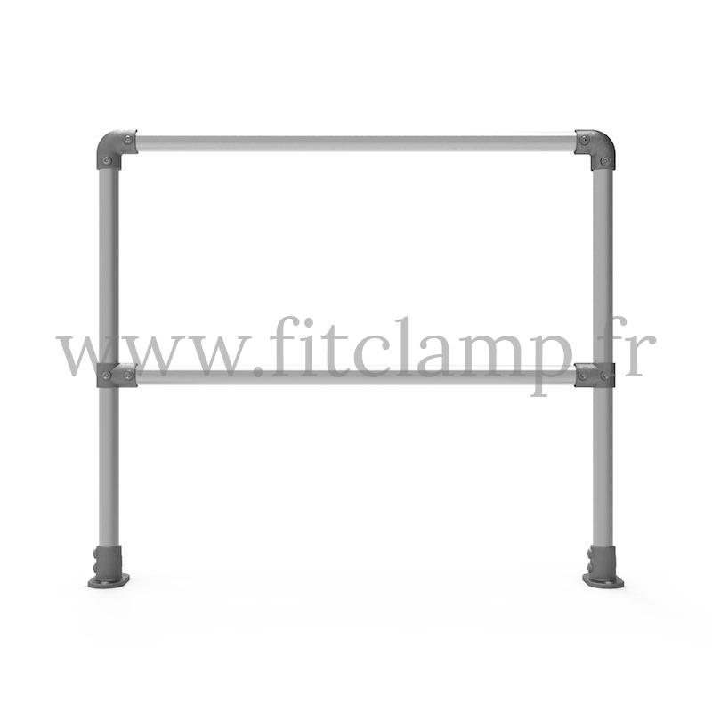 Barrière droite D48 simple. Garde-corps en structure tubulaire. FitClamp