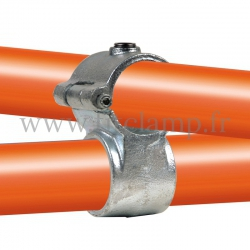 Tube clamp fitting 137 for tubular structures: Clamp-on crossover, suitable for 2 tubes. Easy to install.