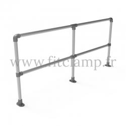 Barrière D48 droite en structure tubulaire acier galvanisé - Double. FitClamp