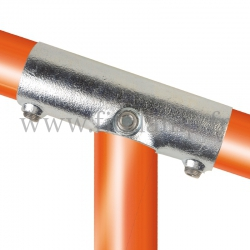 Tube clamp fitting 255Z for tubular structures: Slope long tee 11-29°. Suitable for joining 3 tubes
