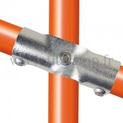 Raccord tubulaire T long intermédiaire 11°-29° (256Z) pour un assemblage tubulaire. Double galvanisation