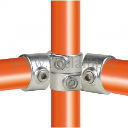 Tube clamp fitting 148 for tubular structures: Short swivel tee. Easy to install